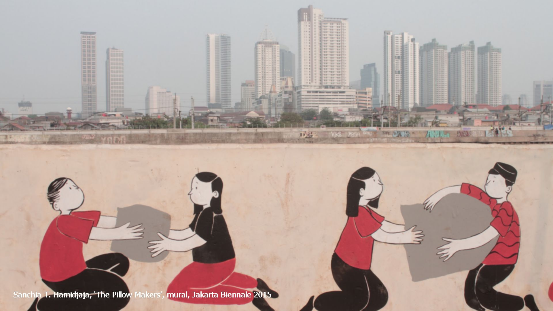 Sanchia T. Hamidjaja, 'The Pillow Makers', mural, Jakarta Biennale 2015
